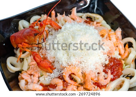 closeup of shrimps with crayfish on plate - stock photo