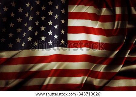Closeup of silky American flag  - stock photo