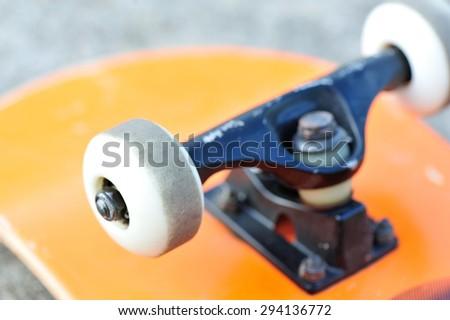 closeup of skateboard wheels - stock photo