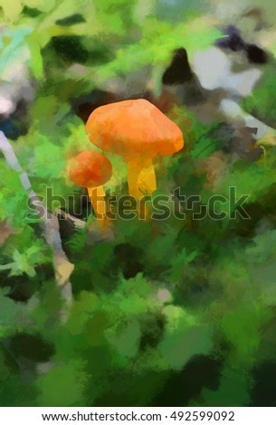 Closeup of small orange mushrooms turned into a colorful painting