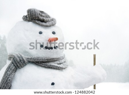 Closeup of smiling snowman with woolen hat, scarf and carrot nose, outdoors in snowfall - stock photo