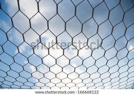 Closeup of soccer goal net. - stock photo