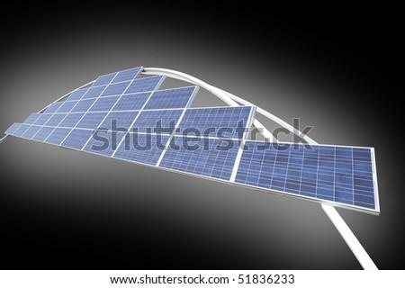 Closeup of Solar Panels -- useful for alternative energy theme - stock photo