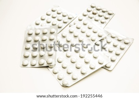 Closeup of some blistered Pills.