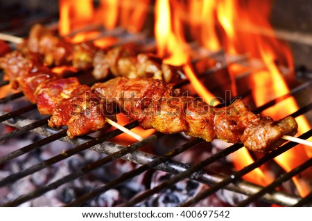 closeup of some meat skewers being grilled in a barbecue - stock photo