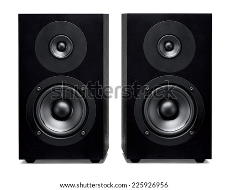 closeup of soundbar speaker isolated on a white background