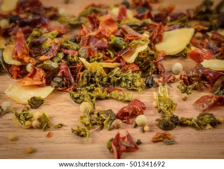 closeup of spice mixture on the wooden desk
