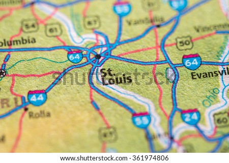Closeup of St. Louis on a geographical map. - stock photo