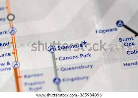 Closeup of Stanmore station on a map of the Jubilee metro line in London, UK. - stock photo