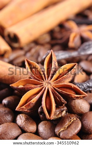 Closeup of star anise, fresh fragrant cinnamon sticks and coffee grains, seasoning ingredients for cooking or baking - stock photo