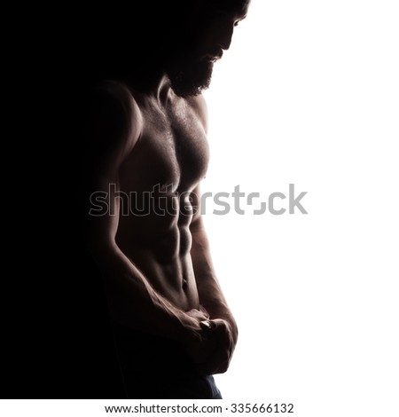 closeup of strong athletic man isolated on white background