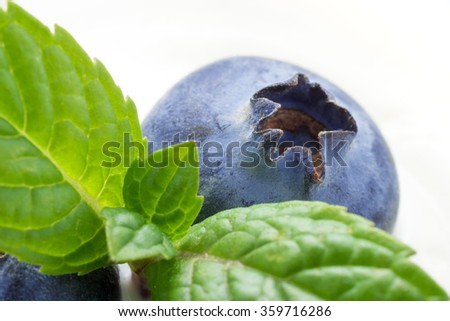 Closeup of superfood blueberry with mint - stock photo