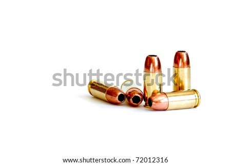 Closeup of tactical military bullets  for gun - stock photo
