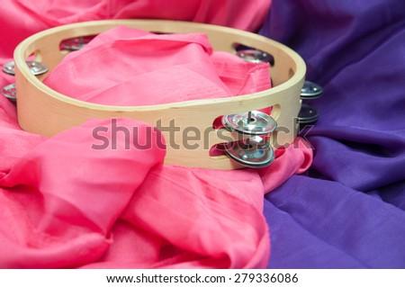 Closeup of tambourine music instrument - stock photo
