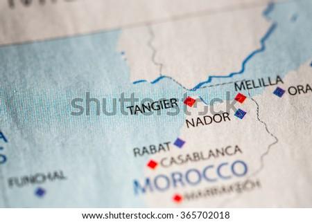 Closeup Tanger Morocco On Political Map Stock Photo 365702018