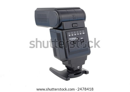 Closeup of the back of a black plastic shoe flash unit isolated over a white background. - stock photo