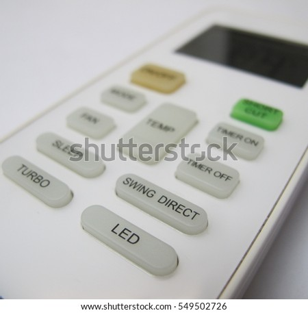 Closeup of the button of a remote control