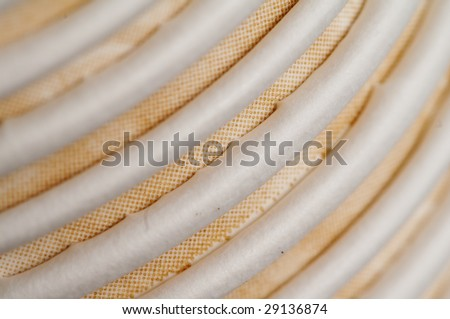 Closeup of the coffee paper cup row - stock photo