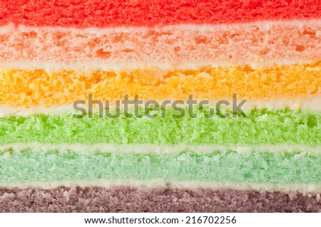 Closeup of the different layers of a rainbow cake  - stock photo