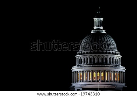 Closeup of the dome of the US Capitol by night - stock photo