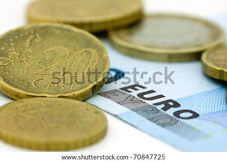 Closeup of the Euro money - stock photo