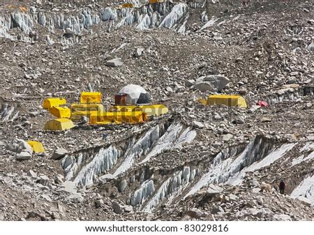 Closeup of the Everest Base Camp (EBC) - Nepal - stock photo