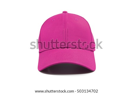 Closeup of the fashion pink cap isolated on white background.
