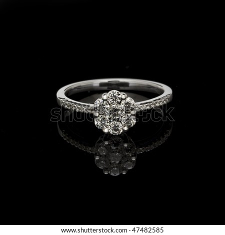 Closeup of the fashion ring focus on diamonds - stock photo