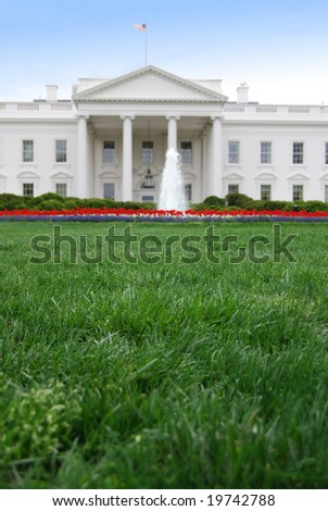 Closeup of the front lawn of the White House in Washington DC - stock photo