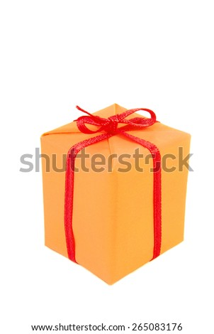 closeup of the gift present isolated on white - stock photo