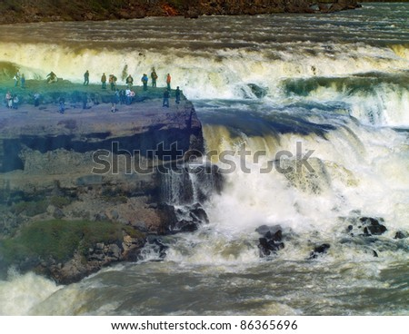 Closeup of the Gullfoss (Golden falls) waterfall in Iceland - stock photo