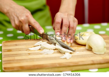 Closeup of the hands of a woman cook slicing onion on a wooden board - stock photo
