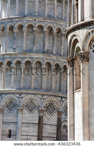Closeup of the Leaning Tower in Pisa, Italy, Europe - stock photo