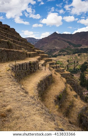 Closeup of the majestic sinuous terraces of Pisac, Inca's site in Sacred Valley, major travel destination in Cusco region, Peru. - stock photo