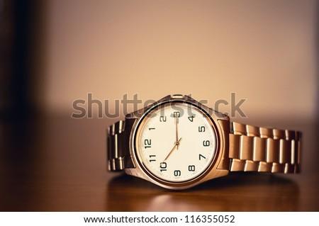 Closeup of the Men's Wrist Watch - stock photo