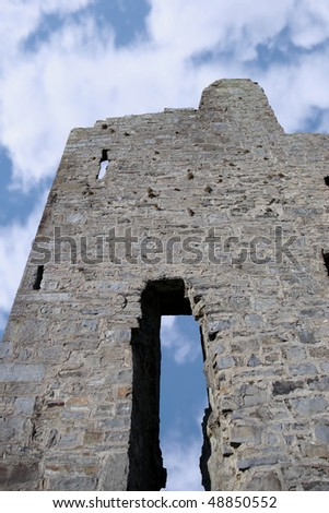 closeup of the old ruins of a castle in ballybunion - stock photo