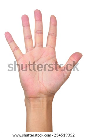 closeup of the open hand with fingers spread of a young man - stock photo