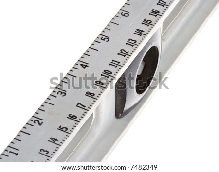 Closeup of the ruler and ruler markings on a level tool. Isolated over a white background.