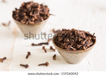 Closeup of the spice cloves which are tiny flowerbuds - stock photo