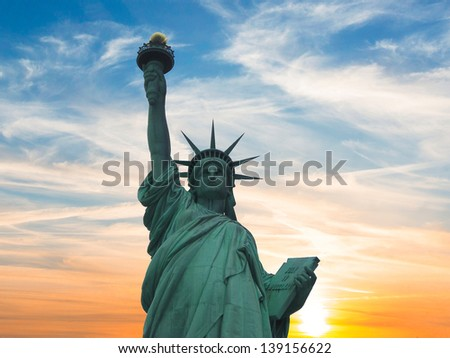 Closeup of the Statue of Liberty. - stock photo