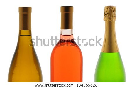Closeup of the top half of three wine bottles over a white background. Wines are Chardonnay, White Zinfandel, and Champagne. - stock photo