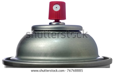 Closeup of the top of an Aerosol Spray Can - stock photo