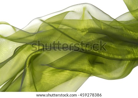 closeup of the wavy organza fabric - stock photo