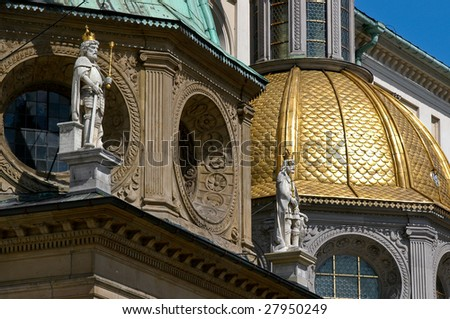 Closeup of the Wawel Cathedral, at the Royal Wawel Castle in Krakow - Poland - stock photo