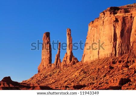 Closeup of Three Sisters Mesa, Monument Valley, Navajo Nation - stock photo
