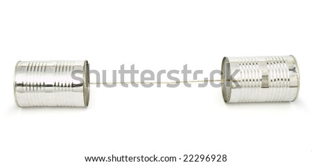 closeup of tin cans telephone  on white background, with clipping path - stock photo