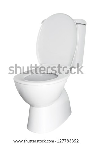 Closeup of toilet isolated on plain background - stock photo