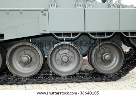 Closeup Of Traction Wheel Of Army Tank
