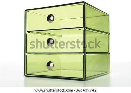 Closeup of transparent drawers on white background - stock photo