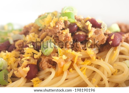 closeup of turkey chilli with spaghetti - stock photo